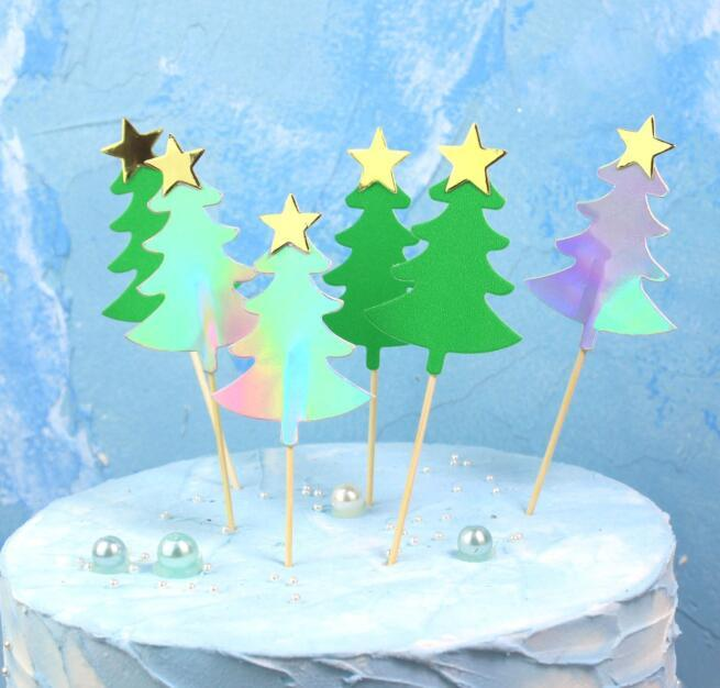 Christmas Tree Cake Topper Green Silver Xmas Tree Shape With Star Cupcake Topper Christmas Party Decoration