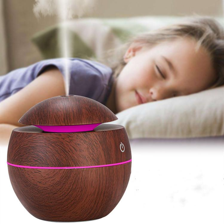 USB wood grain aromatherapy machine ultrasonic air humidifier aromatherapy mini portable Facial Steamer LED Essential Oils Diffuser T2I5175