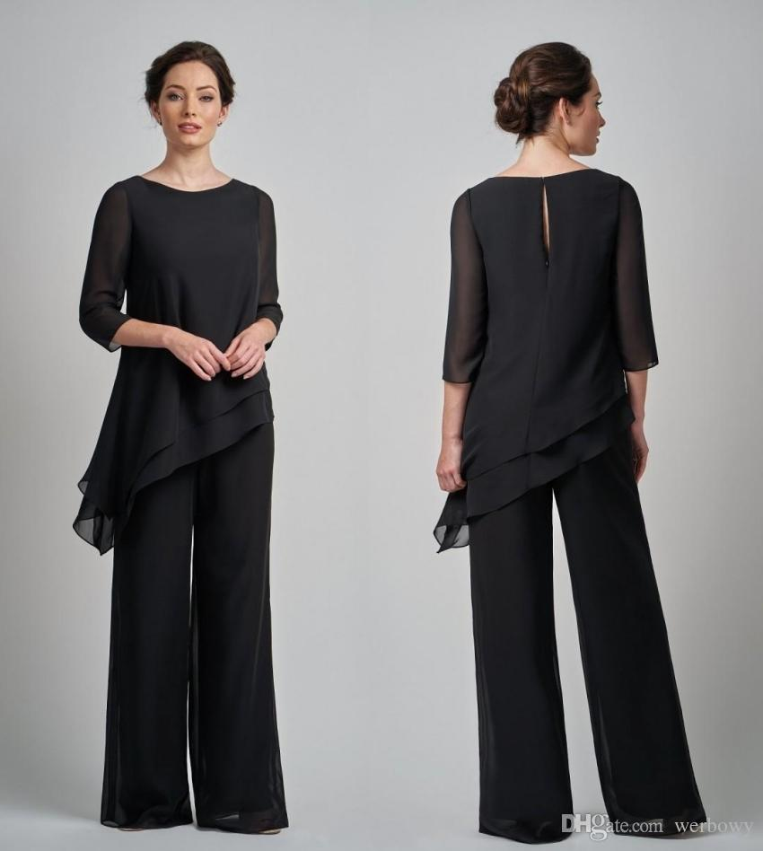 b03469ce0b0 Black Pantsuits Mother Of The Bride Dresses Outfit Two Pieces Garment Dress  Evening Wear Pant Suits For Formal Garment Mothers Outfit Mathar Son Mother  Of ...