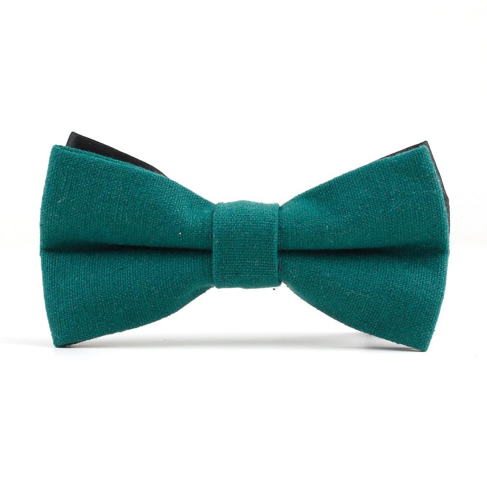a664692365a5 Fashion Dark Cyan Men's Bow Tie Linen Groom Prom Marriage Party Adjustable  Business Necktie Gift for Men Female Bow Tie Knot