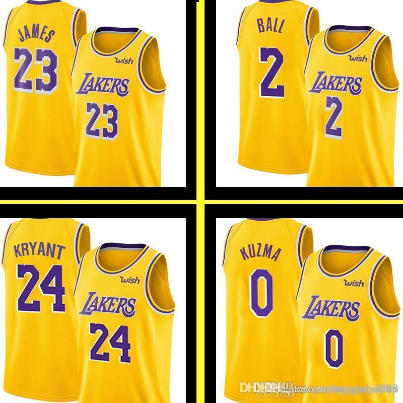 best authentic daf7c 749e9 New Yellow 23 LeBron James Los Angeles Laker Jersey Mens Lonzo 2 Ball Kyle  0 Kuzma Embroidery 14 Ingram Basketball Jerseys S-XXL
