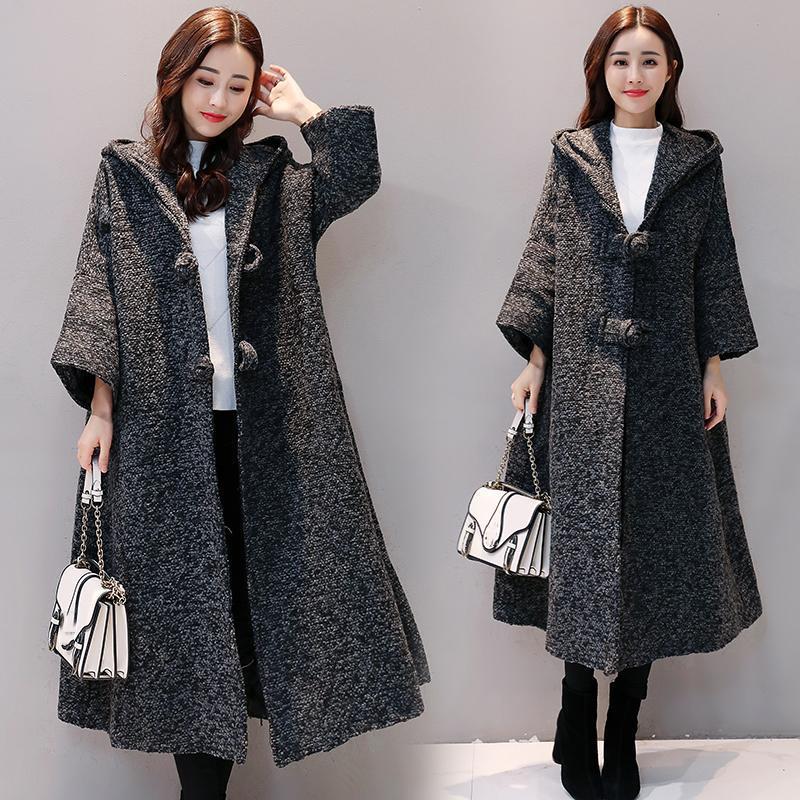 c6c60c9cdedb3 Korean New Autumn Winter Bat Sleeve Woolen Coat Fat MM Plus Size Long  Hooded Loose Cardigan Woolen Jacket Women WYT678 Online with  74.03 Piece on  Kaway s ...