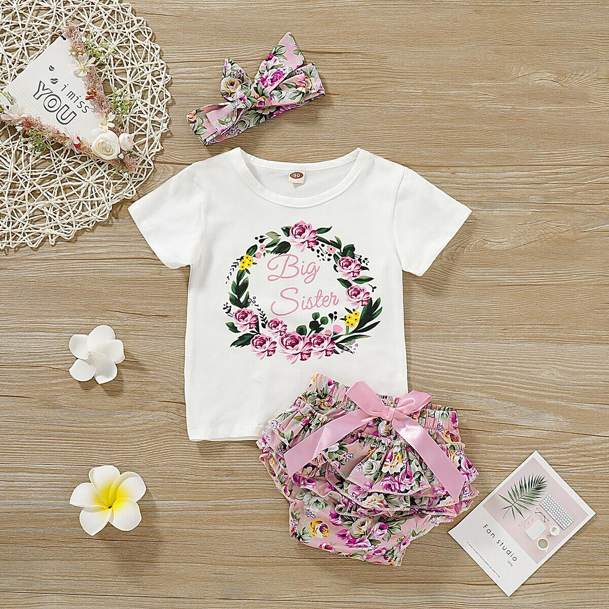 3PCS Floral Shorts Set 0-5 Years Toddler Kids Baby Girls Summer Romper Jumpsuit Tops Flower Layer Short Pants Headband Outfit