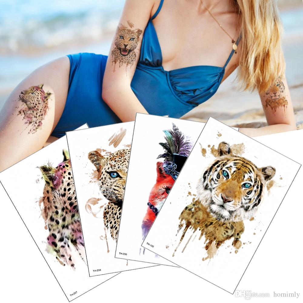6293ccf9b Watercolor Tiger Leopard Design Temporary Tattoos Sticker For Male And  Female Body Arms Back Leg Decal Water Transfer Tattoo Paper Sheet Sex  Temporary ...