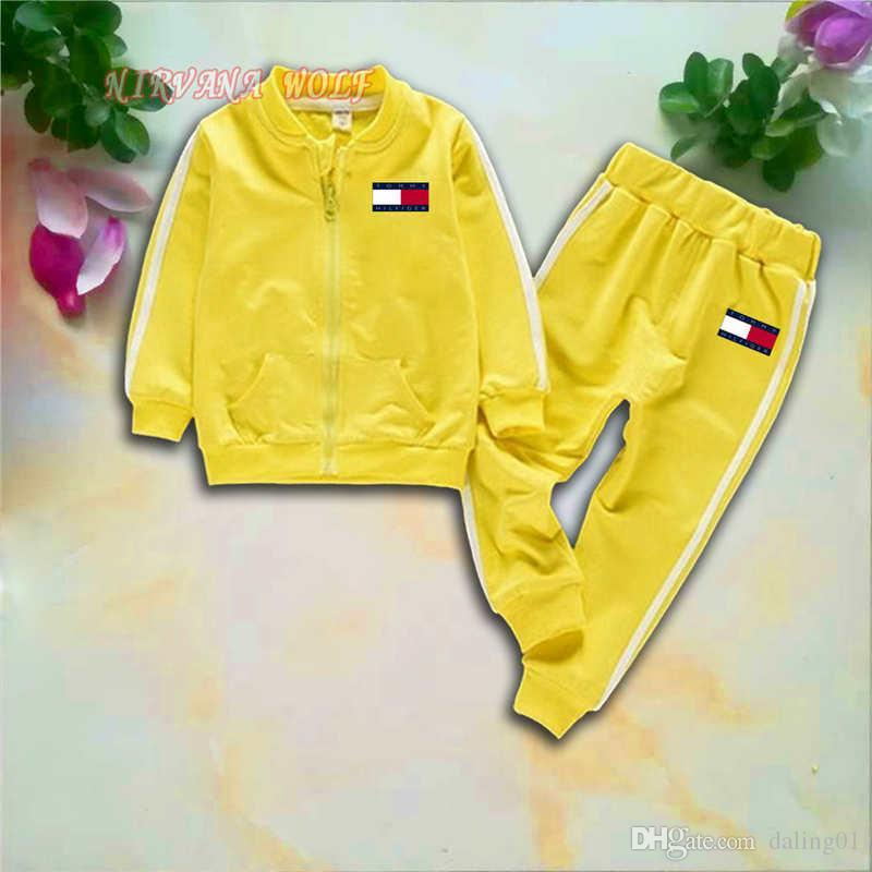 T0MY Kids Sets 1-4T Kids Cardigan Zipper Coats Pants 2Pcs/sets Children Sports Sets Long Sleeved Fashion New Style Kids Summer Suit.