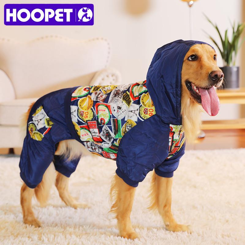 2019 New Pet Clothes Warm Cotton Leisure Style Autumn Overalls for Dogs  winter Coat Large Dog Prints Down Jacket Dog