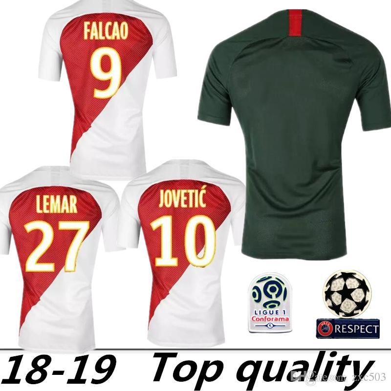 909b7984b 2018 2019 AS Monaco Jersey Men Ligue 1 Soccer 9 FALCAO 10 JOVETIC 17 ...