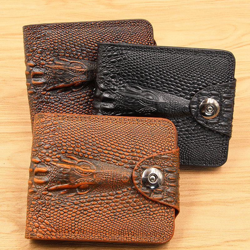 746da29ec5b9 New High Quality 3D Crocodile Pattern Men Wallets PU Leather Retro Short  Bifold Fashion Wallets Designer Leather Brown Purses Gift For Men V Black  Leather ...