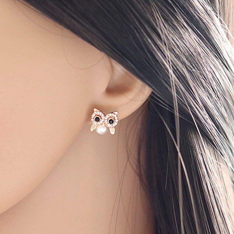 Cute Animal Owl Stud Earrings For Women's Kids Girl Jewelry Female Fashion Pearl Rhinestone Gold Small Earrings Gifts Brincos