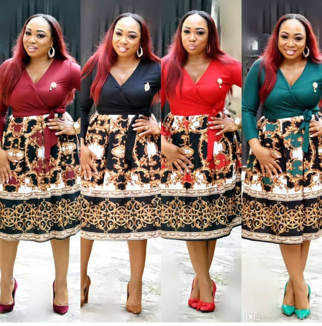 5c63d69dd73ac Free Ship 2019 New Women Elegant V-neck Print A-line Dress Casual High  Waist Midi Dresses XXXL