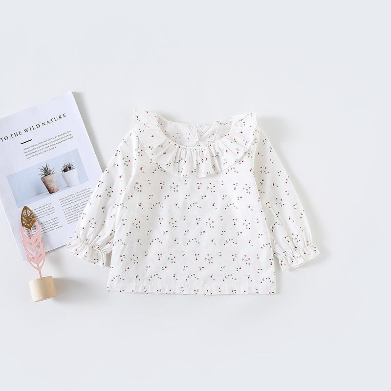 Spring Summer Fashion Baby Girls Blouse Peter Pan Collar Cherry Print Toddler Girl Shirt Clothes Clothing Girl Top Infant Cotton