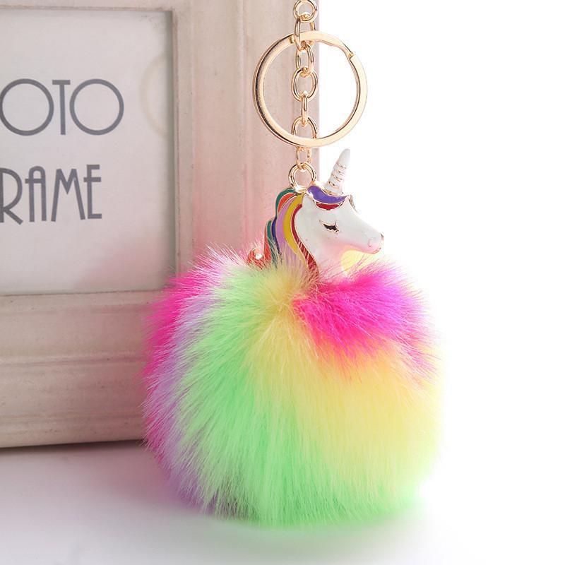 New Unicorn Car Pom Pom KeyChain Bag Charms Jewelry for Women ... 228297dc37e17