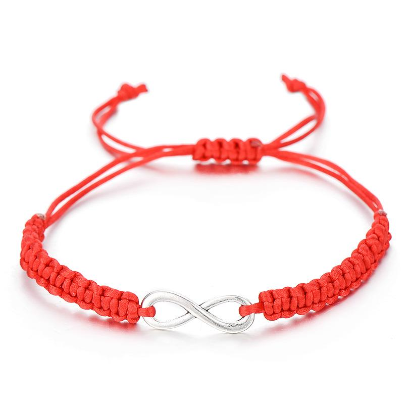 IYOE Geométrica Número 8 Infinito Corda Mão Corda Charme Beacelet Casal Casal Sorte Vermelha Cadeia Pulseiras Presente Simples Jóias