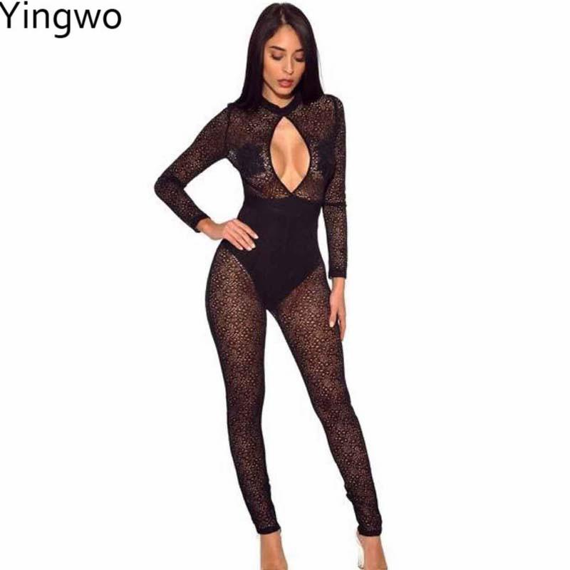 Women's Clothing Hottest Sexy Woman See Through Mesh Jumpsuit Night Out Club Wear Printed Sheer Back Zipper Full-length Skinny Jumpsuit Online