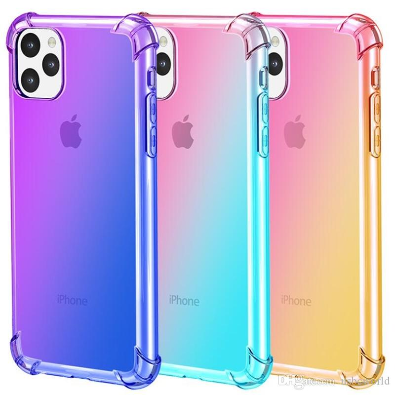 Gradient Colors Anti Shock Airbag Clear Cases For iPhone 11 Pro Max XR XS 8 7Plus 6S For Samsung S10 S9 Note 9