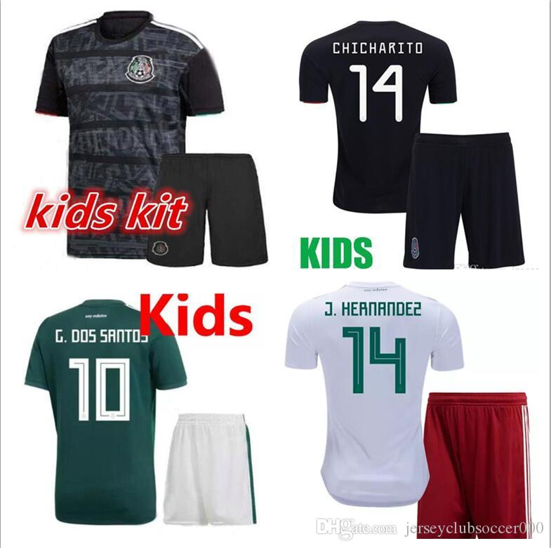 d3af4ee29 2019 Kids Jersey 2019 20 Mexico Gold Cup Soccer Jerseys Home Black Youth  Boys CHICHARITO Camisetas De Futbol H.LOZANO DOS SANTOS VELA RAUL Shirts  From ...