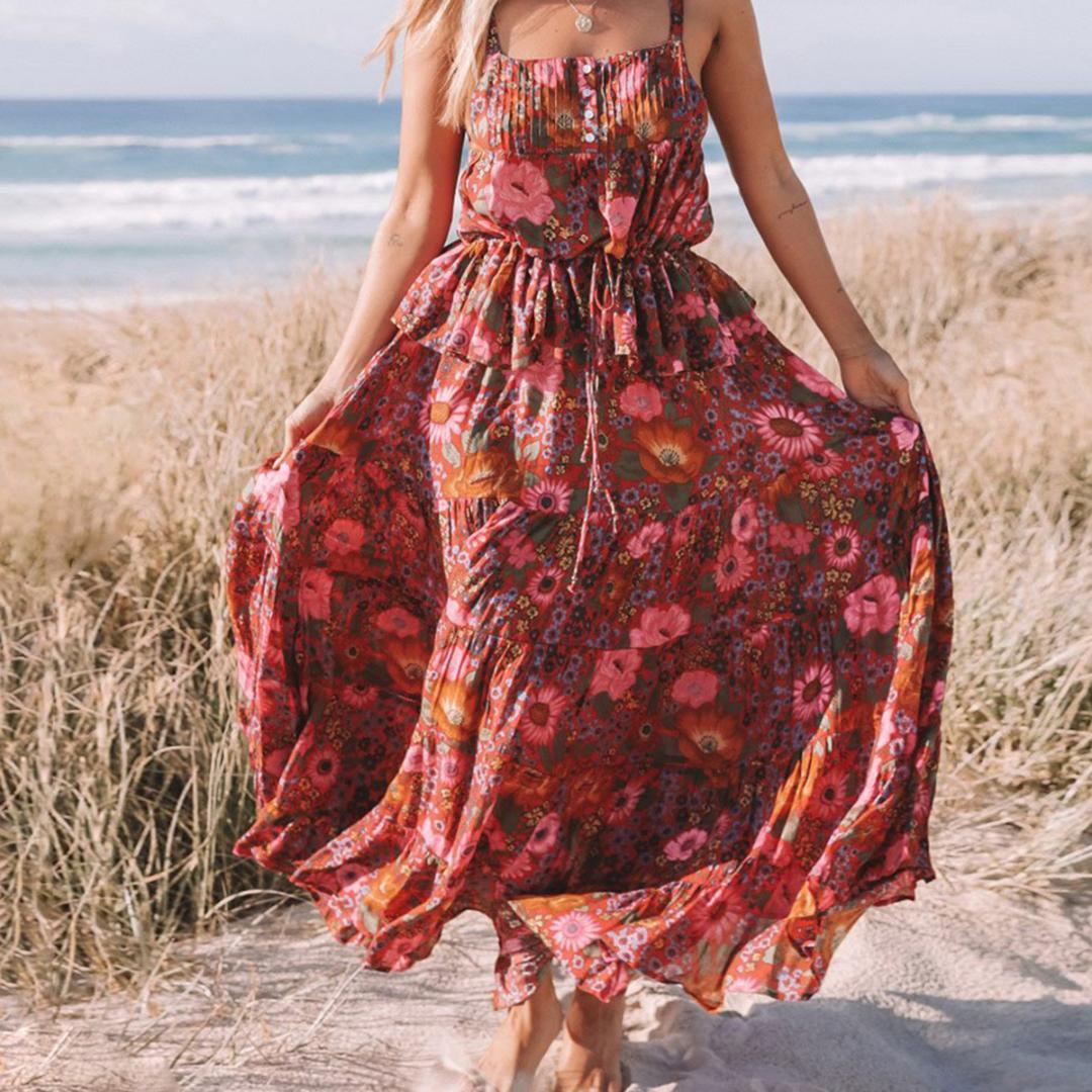 0ad9a6b5f10 2019 Desert Daisy Maxi Skirt Women 2019 Summer Bohemian High Waist Big Hem  Skirt Ladies Boho Floral Print Beach Hippie Long From Dayup