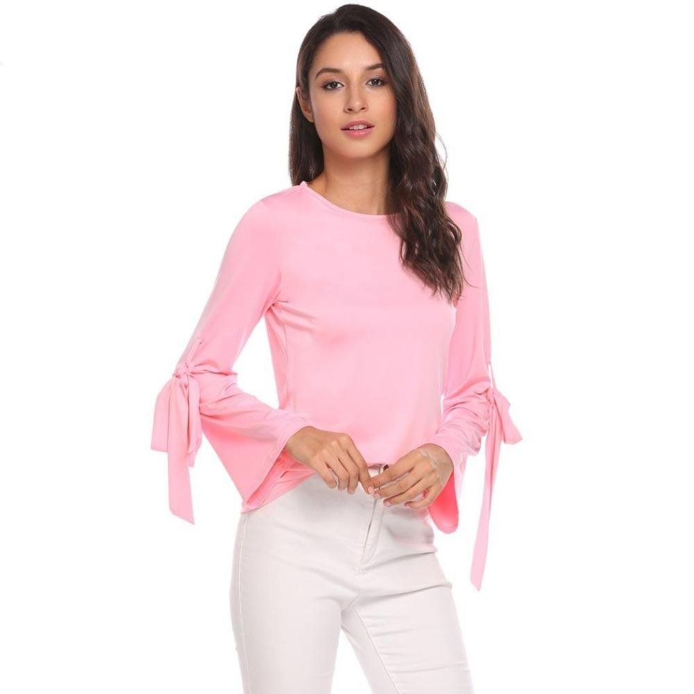 403fae937d3 2019 Sherosa Women Casual Flare Long Sleeve Blouse Arm Belt Lace Up Top  Pink Black Blusas Plus Size Women Clothing Formal Blouses From Nihaode