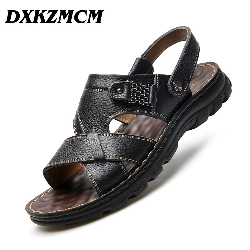 ed4260692c72 DXKZMCM Comfortable Handmade Men Sandals Genuine Leather Soft Summer Men S  Shoes Retro Sewing Casual Beach Shoes Sandles Wedge Booties From Lilychoo