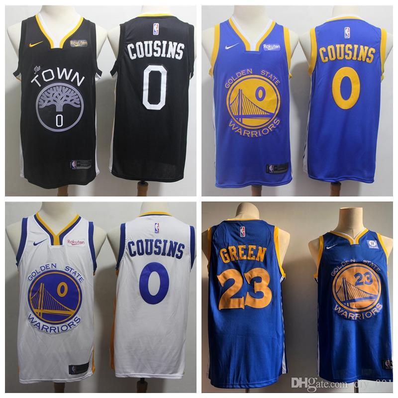 brand new 6c5c0 c7caf 2019 Men Basketball Warriors Jersey 23# Draymond Green 0# DeMarcus Cousins  ALL Stitched Jerseys White Black Blue