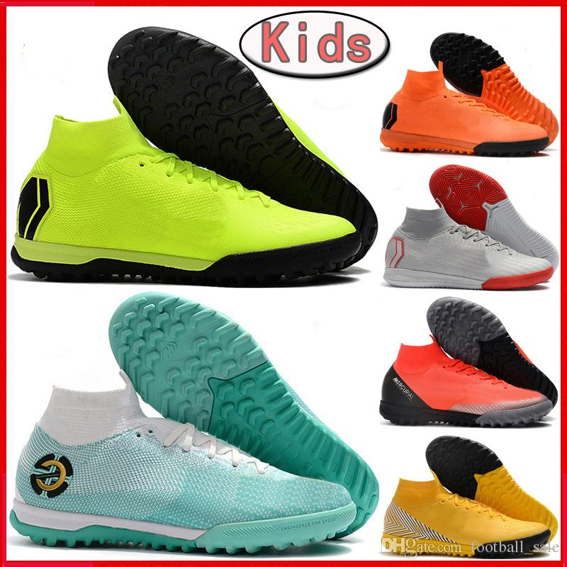buy online e7b57 94297 NEW Kids CR7 Soccer Cleats SuperflyX VI Elite IC TF Mens Indoor Turf Soccer  Shoes Youth Boys Mercurial Superfly Women Football Boots Sports Shoe For  Girls ...