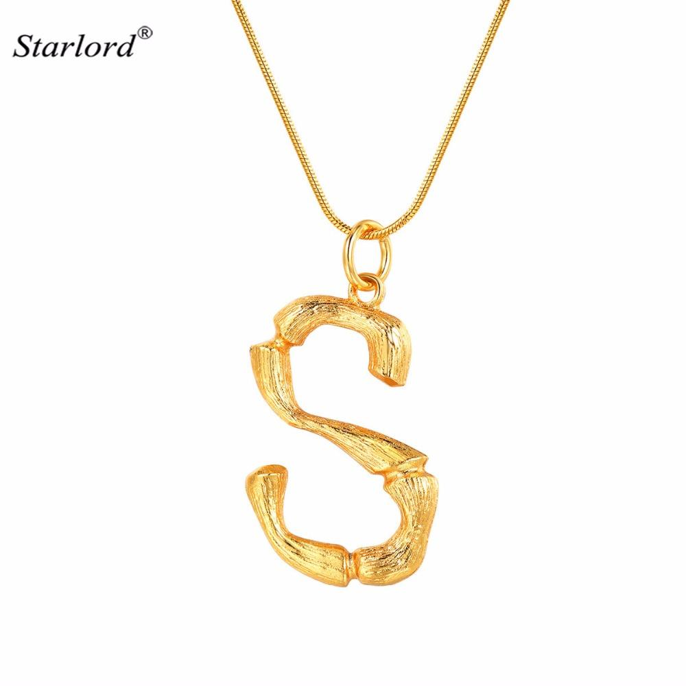 ea5a4ab3ce0b Wholesale Initial Letter S Necklace Snake Chain Gold Alphabet Jewelry  Statement Personalized Women Gift Big Bamboo Letter Charm P9092 Diamond  Necklaces ...