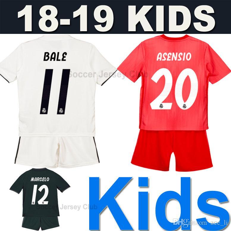 f591678430 Compre 18 19 Kits Para Niños Camiseta De Fútbol Real Madrid Kids 2019  Soccer Jersey Football Shirt Infantil EA Sports Child ISCO MODRIC MARIANO  ASENSIO BALE ...