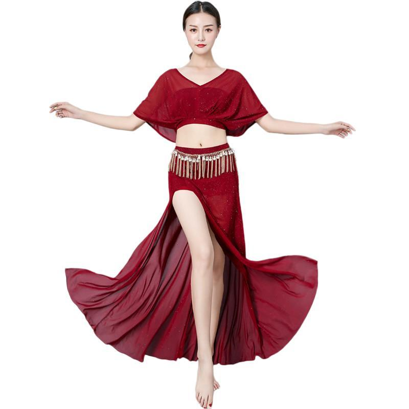eee11bdea 2019 Belly Dance Costume Costume Suit Dance Beginner Spring And Summer Sexy  Large Size Long Skirt Was Thin Black Split Fork 2019 New From Redbud01, ...