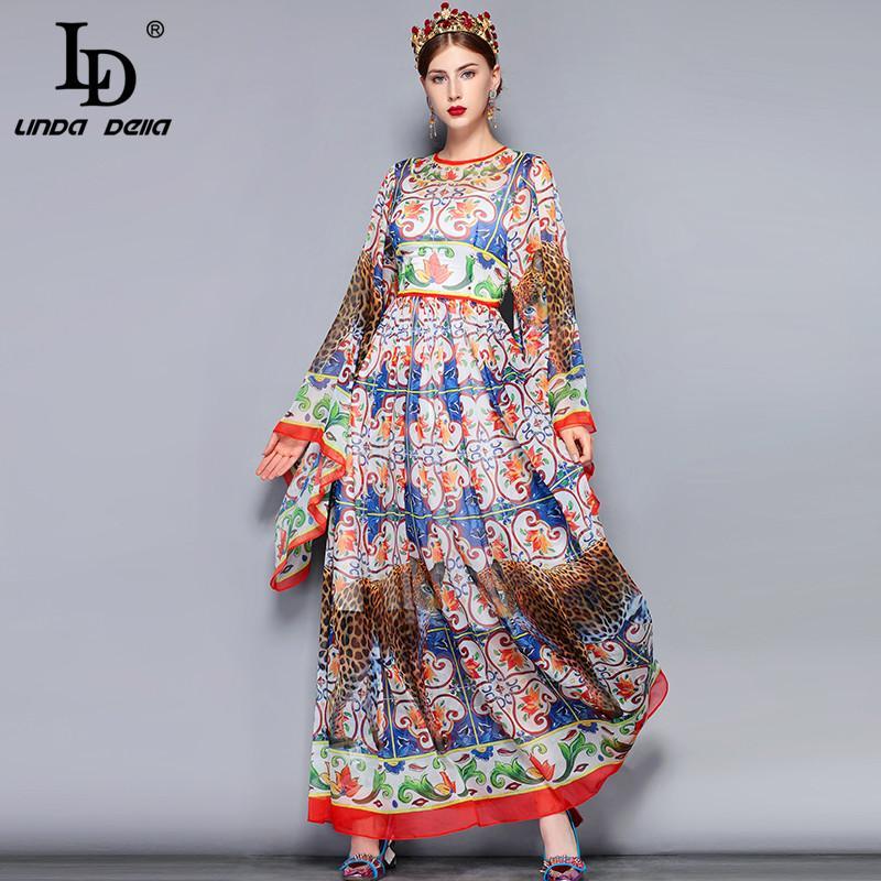 wholesale Fashion Runway Maxi Dress 5XL Plus size Women\'s Loose Flare  Sleeve Animal Pattern Floral Print Vintage Long
