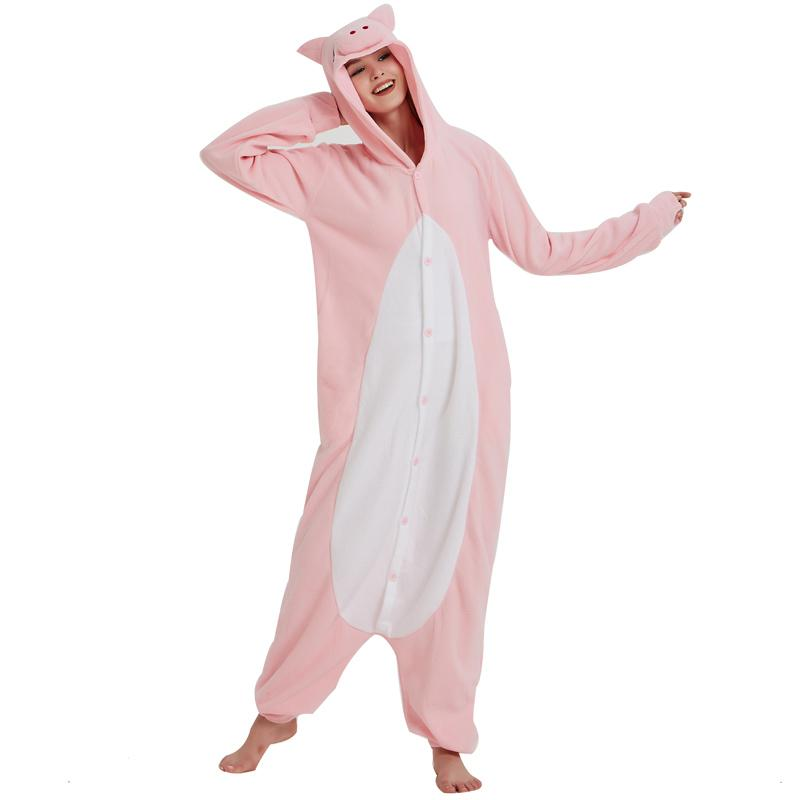 ac5432e5b187 2019 New Polar Fleece Pink Pig Kigurumi Pajamas Overall Costume Cartoon  Onesie For Adult Halloween Carnival Masquerade Cosplay Party From Home5