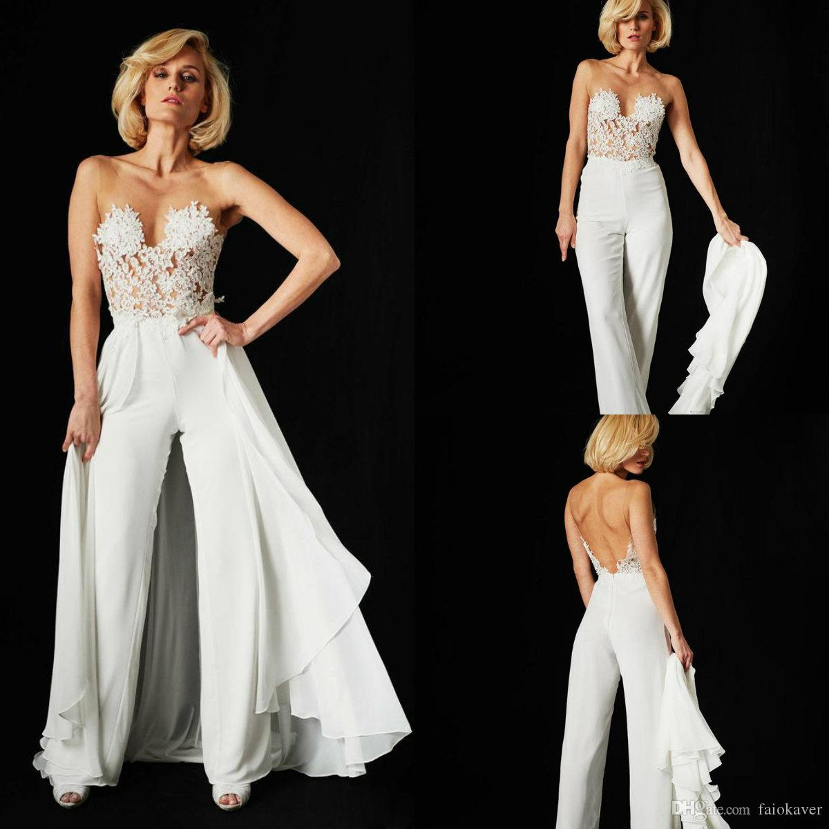 2019 Chic Wedding Jumpsuits With Long Train Sheer Jewel Neck Lace Appliqued Beach Wedding Dress Custom Made Boho Bridal Gowns