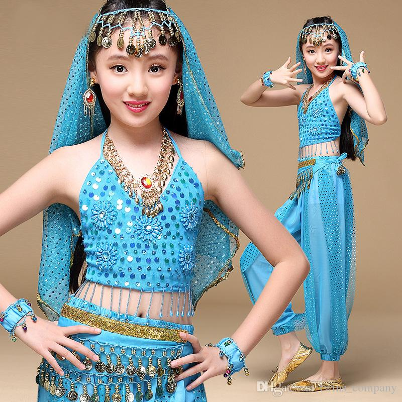 Children's Latin dance dress girls fringed dress kids costumes dance clothing belly dance, children's suits, Indian dance costumes