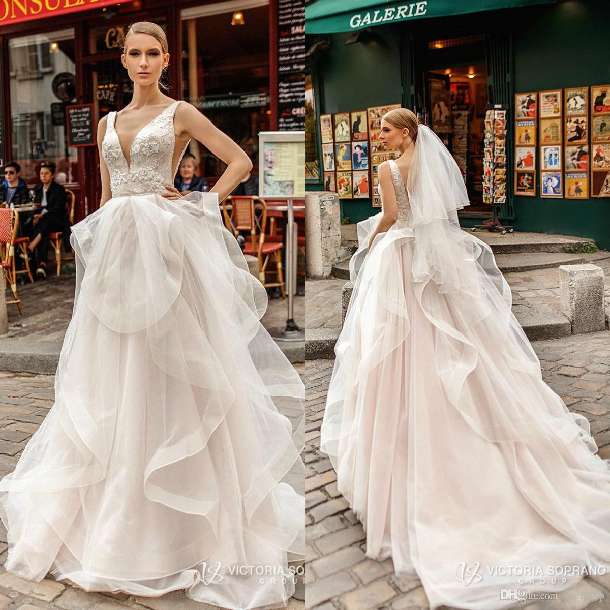 Cheap Wedding Gowns Uk: Discount Victoria Soprano 2019 Wedding Dresses V Neck