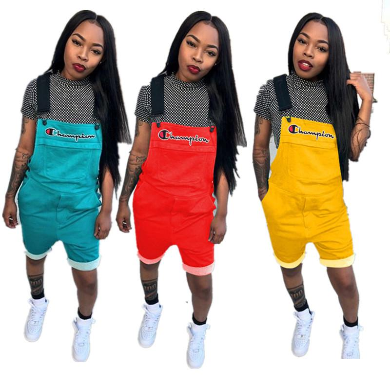 7b92b3c0ee 2019 Women Champion Letter Printed Overall Shorts Jumpsuit Short ...
