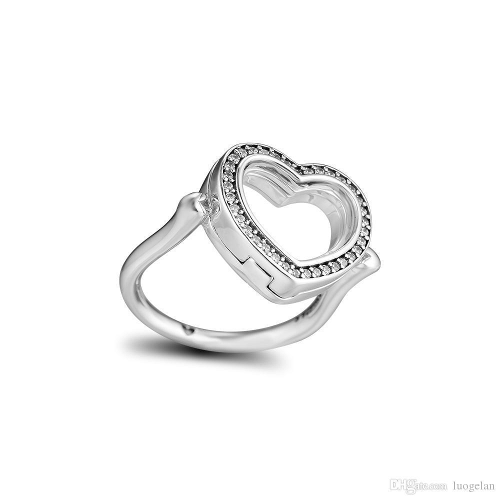 2018 inverno 925 anelli in argento sterling frizzante cuore galleggiante anello originale moda fidanzamento fedi nuziali gioielli fai da te le donne