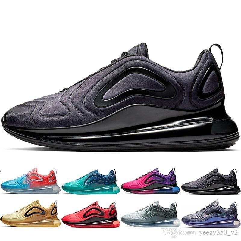 la meilleure attitude 46ced 9fbe7 2019 Nouveau Nike air max 720 Chaussures Plein Coussiné Hommes Femmes Néon  Triple Noir Carbone Coucher Du Soleil Gris Métallique Argent Chaussures de  ...