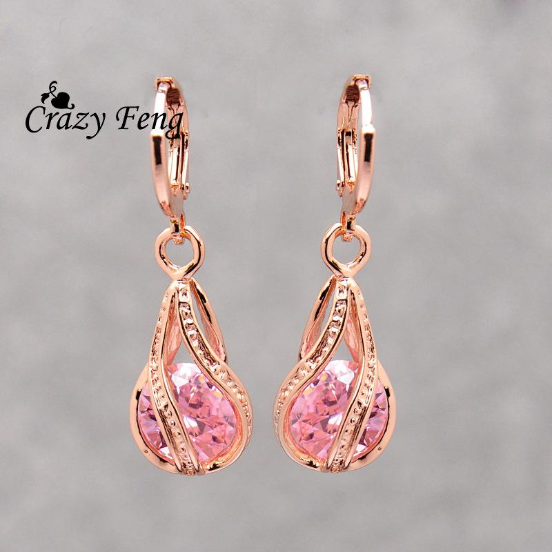 313dbd18d3c Elegant Pink CZ Crystal Earrings Rose Gold Color Hollow Out Drop Earrings  for Women Wedding Party Costume Jewelry brincos Gift