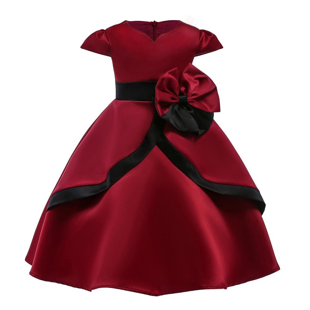cheaper e2319 cff6a Vino rosso grande arco Fiore ragazze vestito elegante rosso partito  principessa Costume Design carino morbido fodera in cotone per i bambini