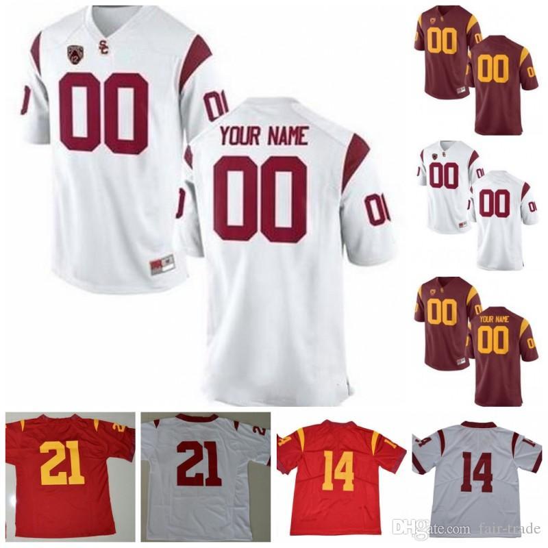 new styles 152e0 44f60 Custom USC Trojans Football Jersey Ronald Jones II Carson Palmer Deontay  Burnett Bruce Matthews Clay Matthews Mike Rozier USC Trojans Jersey
