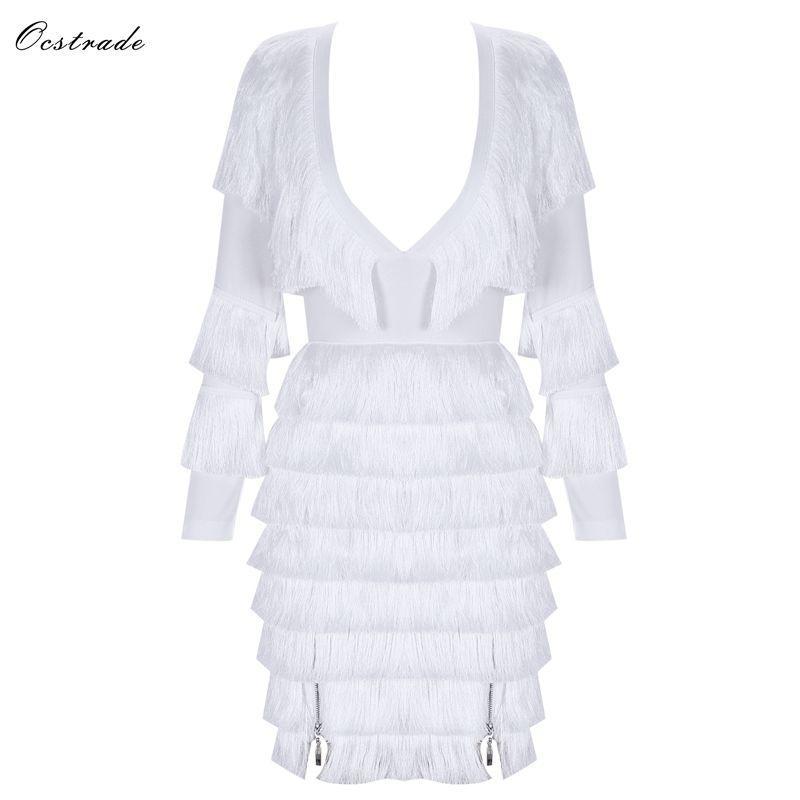 223f86e279 Ocstrade White V Neck Long Sleeve Mini Tassels Party Bandage Dress H0171  White Lace Sundress Floral Cocktail Dresses From Ritalei