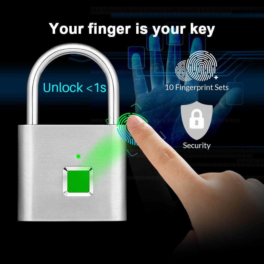 Smart Keyless Fingerprint Padlock Waterproof APP Bluetooth Fingerprint Unlock USB Rechargeable Door Luggage Case lock