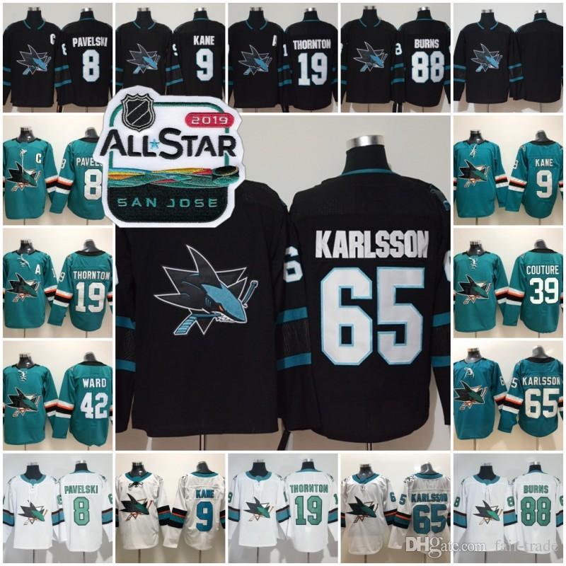 reputable site 93258 6e490 2019 All Star 65 Erik Karlsson San Jose Sharks Third 3rd Alternate Joe  Thornton Brent Burns Joe Pavelski Logan Couture Evander Kane Couture