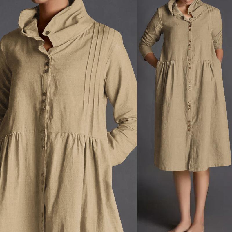 5390173f11788 Women Long Sleeve Buttons Bottom Vintage Dress 2019 Celmia Temporary Lot  Female Cotton Linen Shirt Plus Size Vestidos Mujer Y19071001
