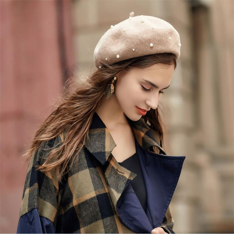 863c1fa94ba34 2019 100% Pure Wool Felt Beret Women Fashion British Style Girls Beret Hat  Lady Pearl Solid Color Winter Hats Women Dropshipping From Nylonshan