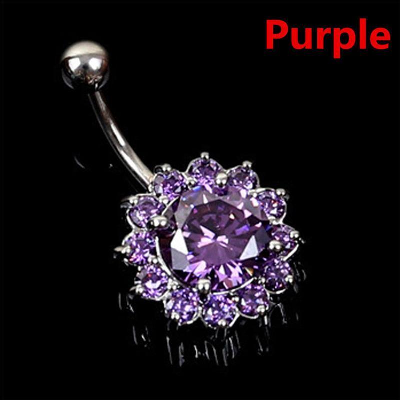 Stainless Steel Flower Petal Navel Piercing Crystal Belly Button Rings Body Piercing Nombril Pircing Navelpiercing
