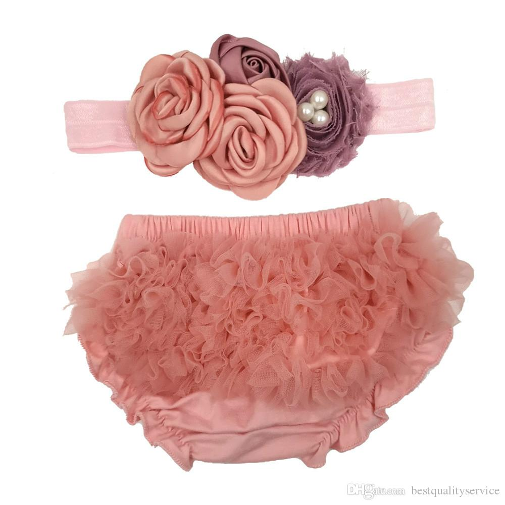 Baby Girls Lace Ruffle Shorts with Headband Toddler Lace Layered Tutu PP Pants Newborn Girl Bottom Bloomer Outfit Photography Props