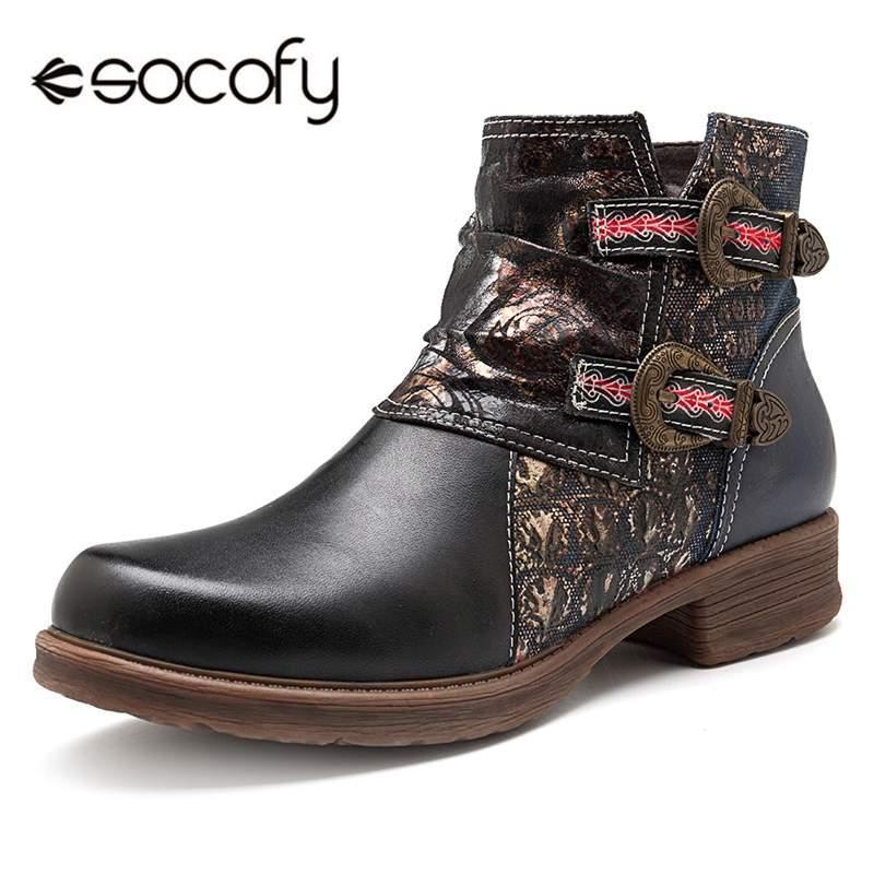 f560d747bf1 Compre Socofy Moda Negro Botas Forradas De Piel Corta Zapatos De Mujer Mujer  Cuero Genuino Vaquera Botines Botines De Invierno Mujer Botas Nuevo A   101.3 ...