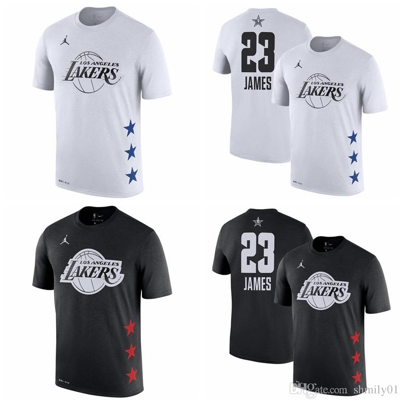 23 LeBron Jamess Los Angeles Men's Lakers 2019 All-Star Game Name & Number  Basketball T-Shirt Black White