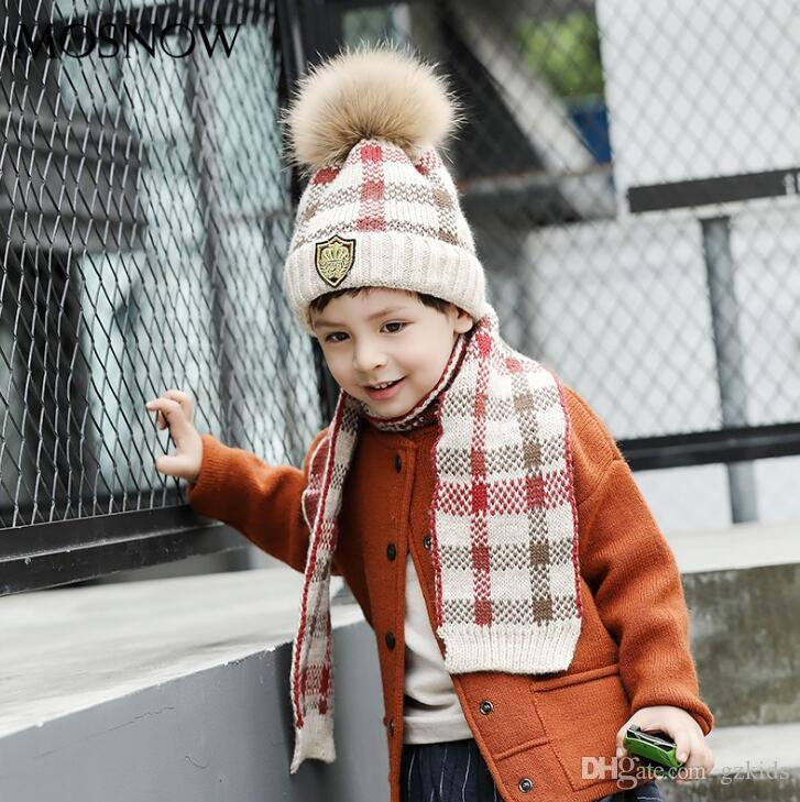 c50a22dadde 2019 Crown Label Hat Scarf Set Infant Toddler Knit Warn Faux Fur Pom Pom Beanie  Hat + Scarf Neck Warmers From Gzkids