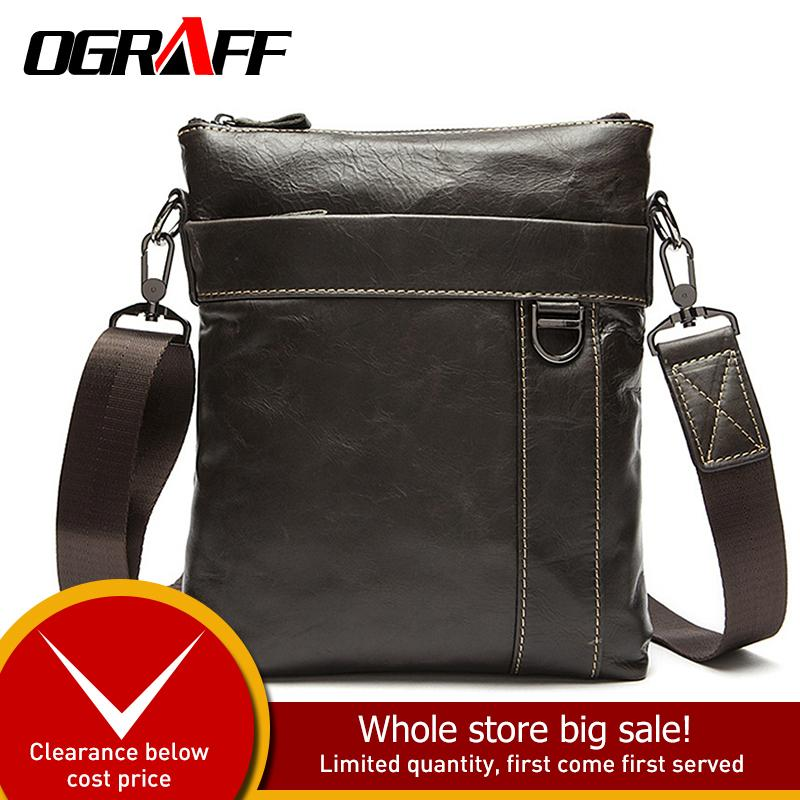 OGRAFF Genuine Leather Bags Men Messenger Bags Hot Sale Male Small ... be2696e648